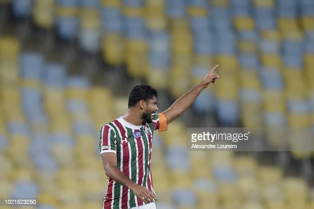 Gum of Fluminense celebrates their first scored goal during the match between Fluminense and Corinthians as part of Brasileirao Series A 2018 at...