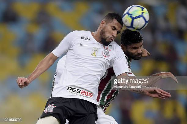 Gum of Fluminense struggles for the ball with Jonathas of Corinthians during the match between Fluminense and Corinthians as part of Brasileirao...