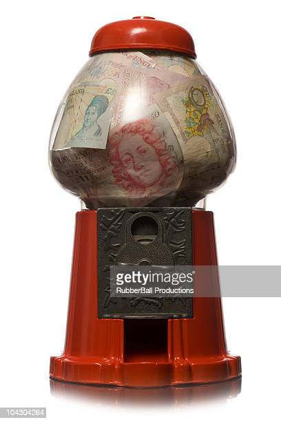 gumball machine full of money - fifty pound note stock pictures, royalty-free photos & images