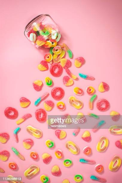 gummy sugary candy still life. - candy stock pictures, royalty-free photos & images