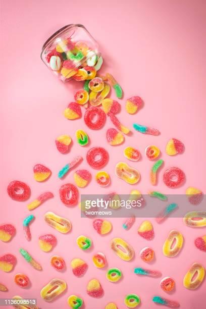 gummy sugary candy still life. - kuchen und süßwaren stock-fotos und bilder