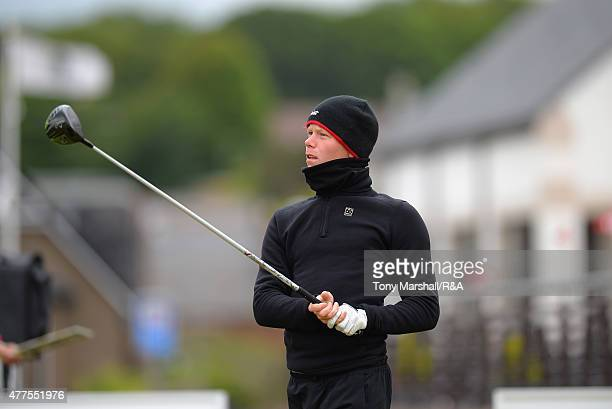 Gumundur Kristjansson of Iceland plays his first shot on the 1st tee during The Amateur Championship 2015 Day Four at Carnoustie Golf Club on June 18...