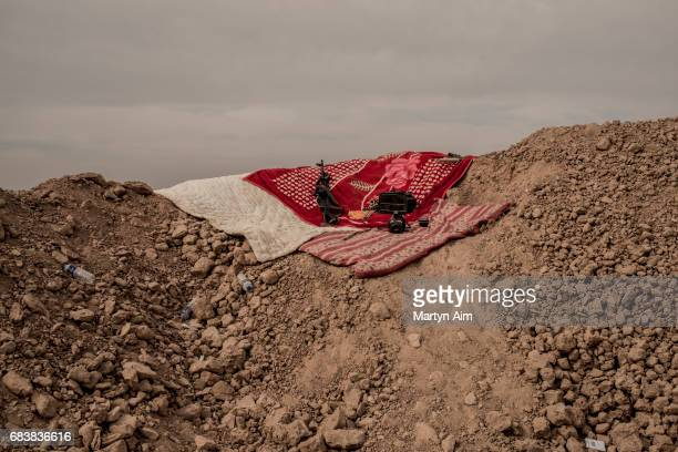 Gun ammunition and blankets of the Shia brigade Liwa al-Muntadhir on the frontline against the Islamic State in the Nineveh plains of northern Iraq...
