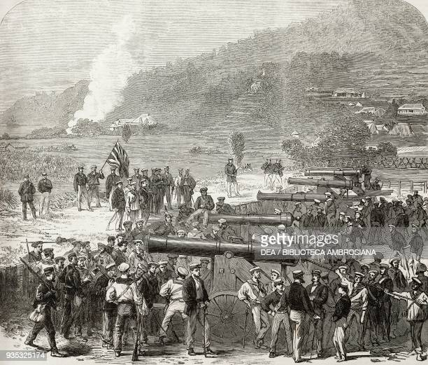 Gun battery Shimonoseki Japan illustration from the magazine The Illustrated London News volume XLV December 24 1864