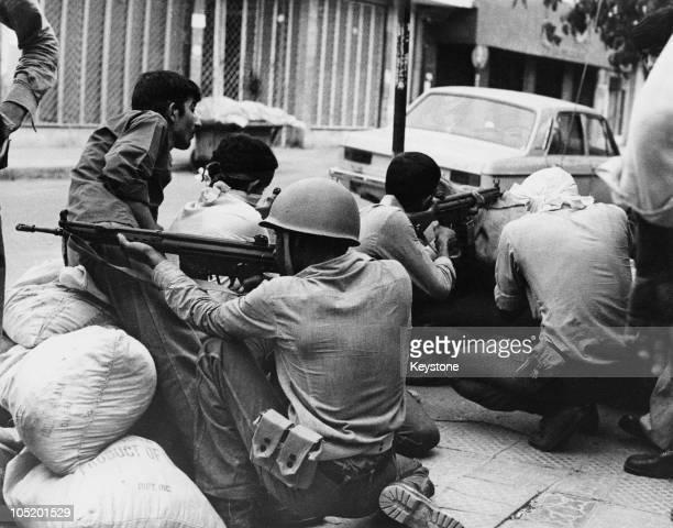 A gun battle in Khorramshahr in southwestern Iran during the Iranian Revolution 1979
