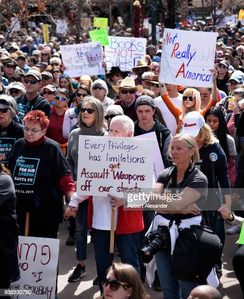 Gun control advocates gather during a 'March For Our Lives' rally in Santa Fe New Mexico The rally and march part of a nationwide series of similar...