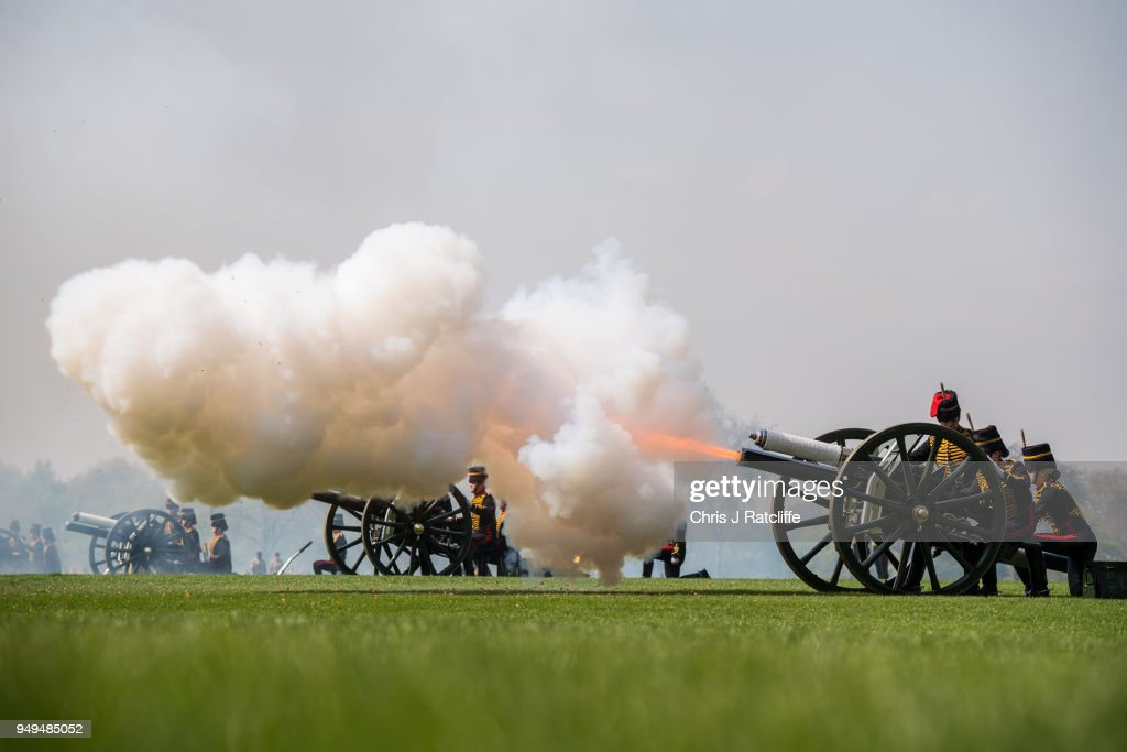 21 Gun Salute Held In Hyde Park To Celebrate The Queen's 92nd Birthday