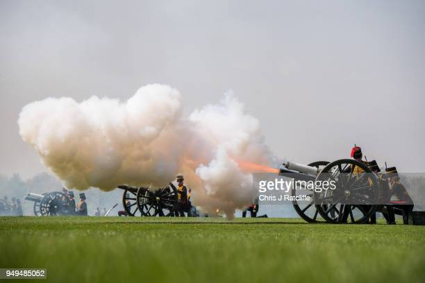 A gun fires during a 41 Royal gun salute to mark the 92nd birthday of Queen Elizabeth II at Hyde Park on April 21 2018 in London England The King's...