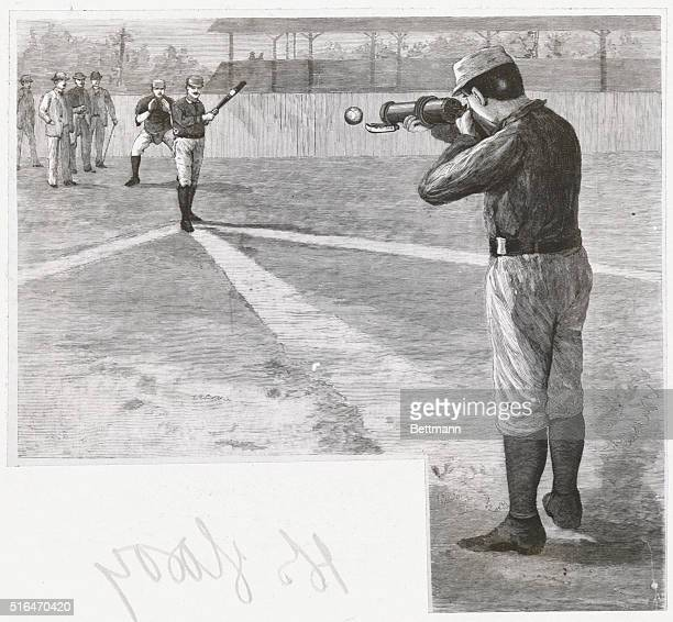 Gun for delivering a curved ball as sued on the Princeton ball grounds