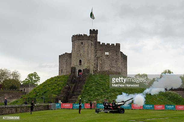 A gun is fired during a service at Cardiff Castle to mark the 70th anniversary of VE Day on May 8 2015 in Cardiff Wales Great Britain now starts...