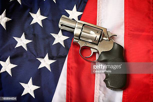 Gun on American Flag