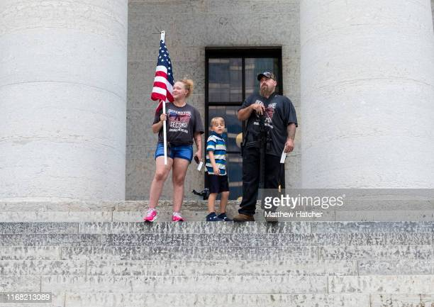Gun owners and second amendment advocates gather at the Ohio State House to protest gun control legislation on September 14, 2019 in Columbus, Ohio....