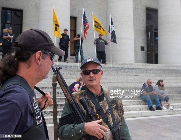 Gun owners and second amendment advocates gather at the Ohio State House to protest gun control legislation on September 14 2019 in Columbus Ohio The...