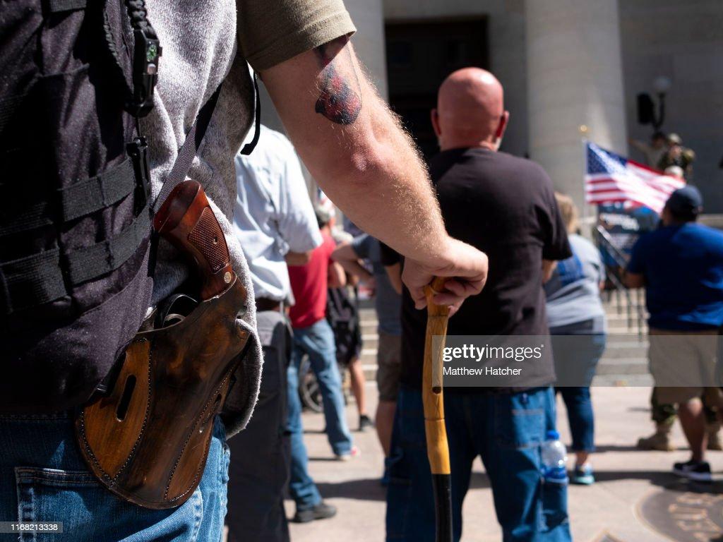 Gun Rights Advocates Protest Proposed Gun Control Laws : News Photo