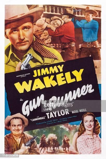 Gun Runner, poster, US poster art, top left: Jimmy Wakely; bottom left: Dub Taylor; bottom right: Noel Neill, 1949.