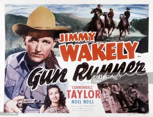 Gun Runner, US lobbycard, from left: Jimmy Wakely, Noel Neill, 1949.