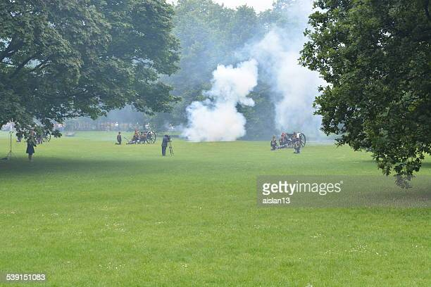 gun salute for the queen's birthday - queen's birthday stock photos and pictures