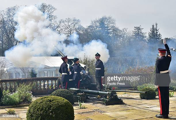 Gun Salute took place in the Grounds of Queen Elizabeths Northern Ireland Residence Hillsborough Castle to mark Her Majesty's 90th Birthday