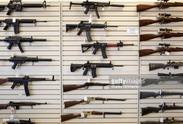 A gun shop on the side of the Interstate 10 freeway selling all sorts of weapons on the 26th February 2013 in Houston Texas The second gun down in...