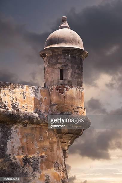 gun tower at el morro - old san juan wall stock photos and pictures