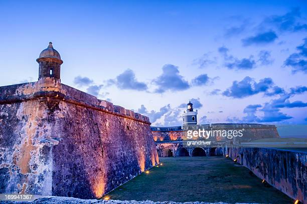 gun tower at el morro - puerto rico stock pictures, royalty-free photos & images