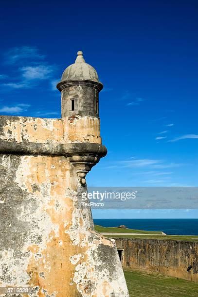 A gun tower in Puerto Rico against a clear blue sky