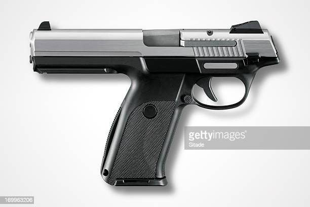 gun with clipping path - legal defense stock pictures, royalty-free photos & images