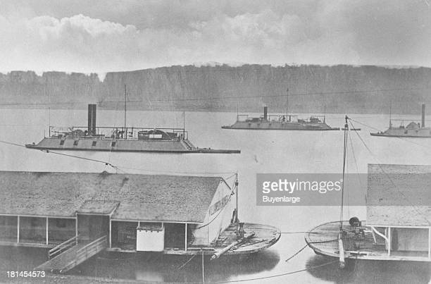 US gunboats DeKalb Mound City and Cincinnati from the Union's Mississippi River Fleet A single hit from a frigate would demolish a gunboat but a...