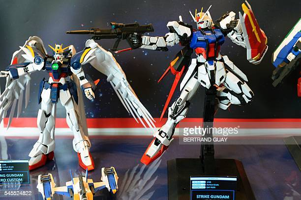 Gundam toys are displayed during the 2016 Japan Expo exhibition dedicated to Japanese culture and entertainment on July 8 2016 in Villepinte near...