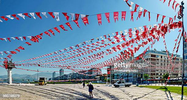 gundogdu square with colorful flags - emreturanphoto stock pictures, royalty-free photos & images