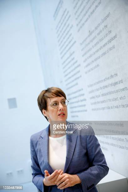 Gundula Bavendamm, the director of the new Documentation Center for Displacement, Expulsion and Reconciliation in the foyer of the exhibition on June...