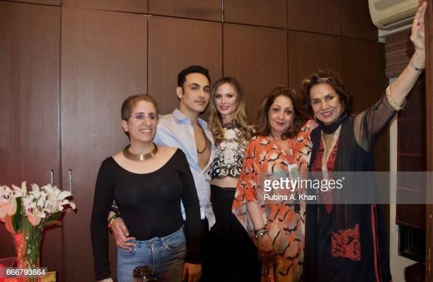 Guneet Monga Mozez Singh Georgina Chapman Veena Advani and Bina Ramani in Mumbai on April 8 2017 in Mumbai India