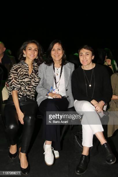 Gunes Guner Mehtap Elaidi and Seda Lafci attend the MercedesBenz Fashion Week Istanbul March 2019 at Zorlu Center on March 20 2019 in Istanbul Turkey
