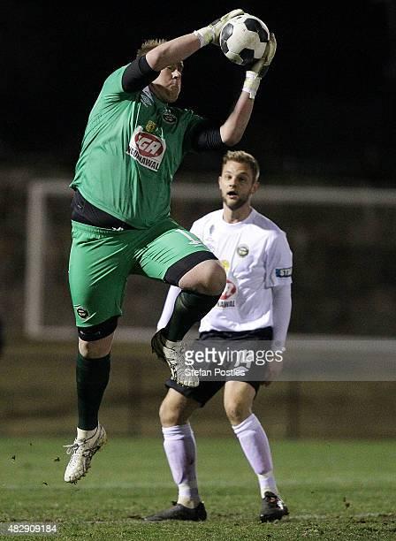 Gungahlin Goal Keeper Jason Denham secures a ball during the FFA Cup match between Gungahlin United FC and Sydney Olympic FC at Gungahlin Enclosed...