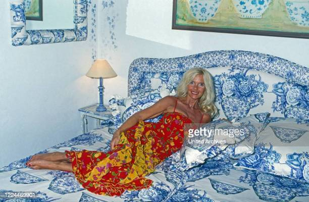 Gunilla Countess von Bismarck at her bedroom of her villa Casa Ann Mari at Marbella Spain 1999