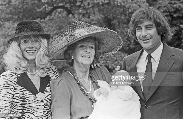 Gunilla Countess von Bismarck with Luis Ortiz and son Francisco at Marbella Spain circa 1980