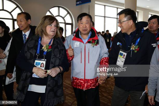 Gunilla Lindberg head of IOC Evaluation Commission and Lee HeeBeom President of the PyeongChang Organizing Committee for the 2018 Olympic visit at...