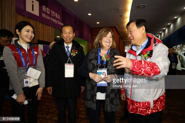Gunilla Lindberg head of IOC Evaluation Commission Lee HeeBeom President of the PyeongChang Organizing Committee for the 2018 Olympic and Choi...