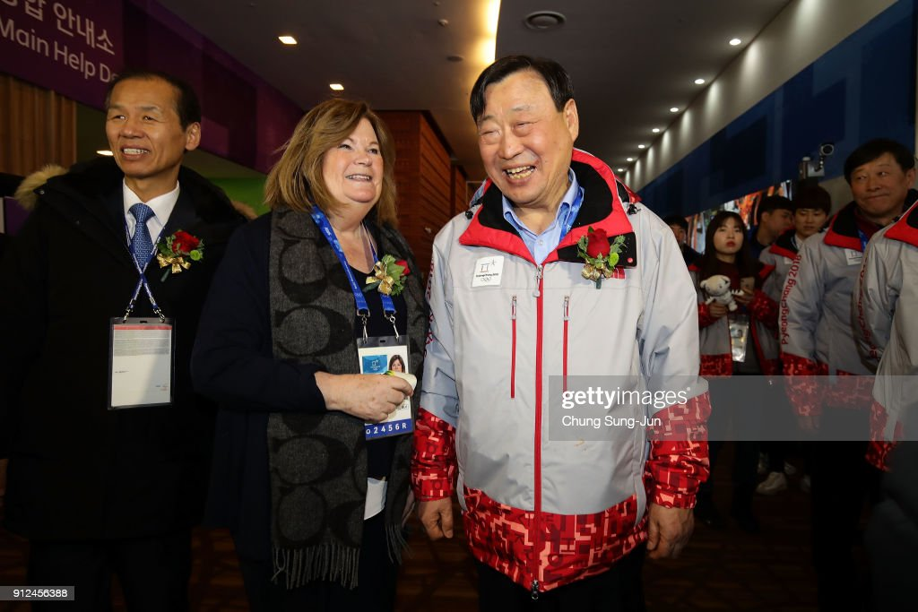 Gunilla Lindberg (C) head of IOC Evaluation Commission, Lee Hee-Beom (R) President of the PyeongChang Organizing Committee for the 2018 Olympic (POCOG) and Choi Moon-Soon (L) Governor of Gangwon Province visit at the MPC during the opening ceremony ahead of PyeongChang 2018 Winter Olympic Games on January 31, 2018 in Pyeongchang-gun, South Korea.