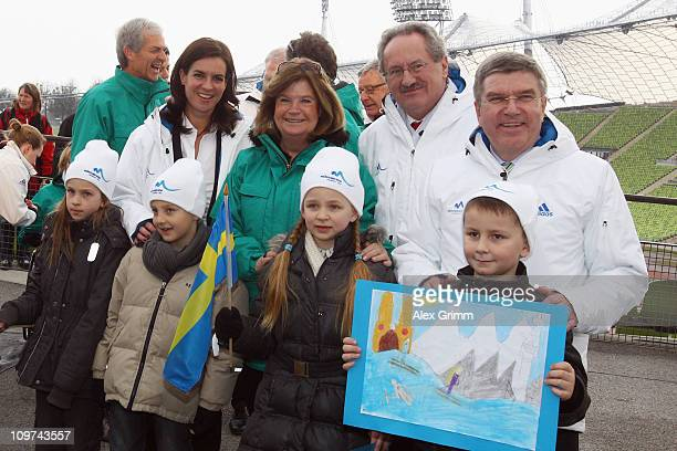Gunilla Lindberg head of the IOC Evaluation Commission poses with Katarina Witt mayor Christian Ude and Thomas Bach head of Germany's DOSB in the...