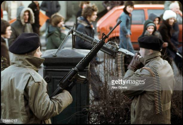 IRA gunmen in the republican Creggan estate in Londonderry during a demonstration to mark the 6th anniversary of Bloody Sunday 30th January 1978 One...