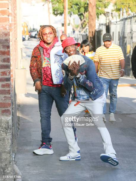 Gunna and Young Thug are seen arriving at 'Jimmy Kimmel Live' on March 25 2019 in Los Angeles California