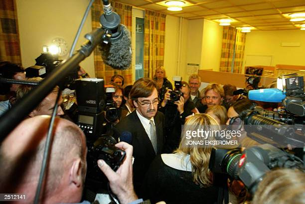 Gunnar Falk , defender of the 35-year-old man suspected of the slaying of Swedish Foreign Minister Anna Lindh, talks to media on his way into the the...