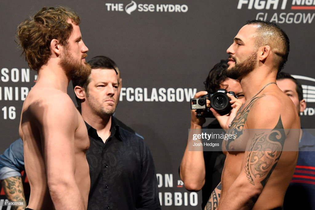 Gunnar Nelson of Iceland and Santiago Ponzinibbio of Argentina face off during the UFC Fight Night weigh-in at the SSE Hydro Arena Glasgow on July 15, 2017 in Glasgow, Scotland.