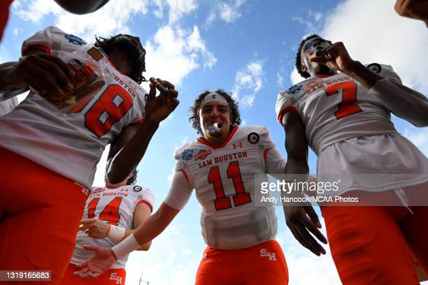 Gunner Capps of the Sam Houston State Bearkats celebrates after defeating the South Dakota State Jackrabbits to win the Division I FCS Football...
