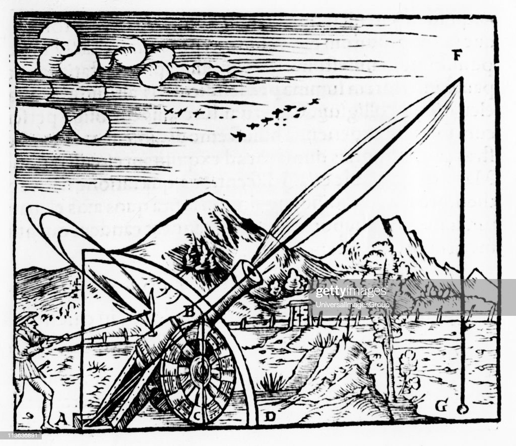 Gunner firing a cannon. The path of the projectile is shown according to Aristotelian physics. Since he believed that no body could undertake more than one motion at a time, the path had to consist of two separate motions in a straight line. From Daniele ... : News Photo