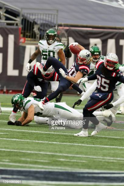 Gunner Olszewski of the New England Patriots has a long gain against the New York Jets at Gillette Stadium on January 3, 2021 in Foxborough,...