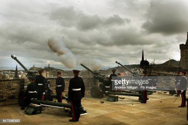 Gunners from 207 Battery 105 Regiment Royal Artillery fire a 21gun royal salute to celebrate the 86th birthday of the Queen at Edinburgh Castle