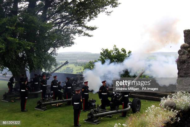 Gunners from the 105th Regimental Royal Artillery fire a 21 gun Royal Salute at Stirling Castle to mark the official birthday of Queen Elizabeth II