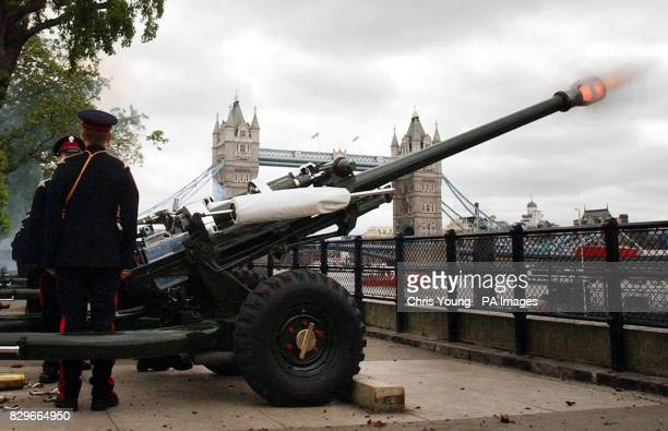 Gunners from the 'Honorable Artillery Company' fire a 62 gun salute to mark the 52nd anniversary of the Queen Elizabeth II's coronation